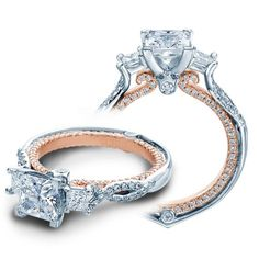 Verragio Engagement Rings 0.50ctw Diamond Beautiful Setting features a two tone look and diamond accents creating a perfect ring.