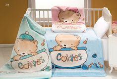 Dětské dečky MINK BABY 314 s malovanými medvídky v cookies nádobkách v růžové modré nebo zelené barvě nesmí chybět v žádné postýlce!