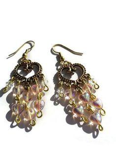 Heart Dangles  Heart Dangles Earrings  Chandelier by DameCreation #heartearrings #heartdangles #czechglass #swarvoskibeads
