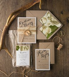 Botanical Wedding Invitations 20 Rustic Burlap by WhitePaperPages