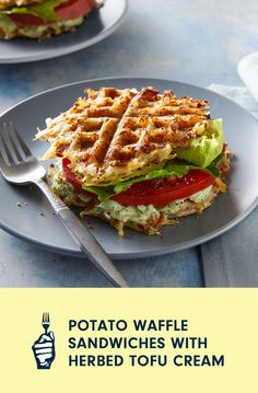 In this inventive twist on breakfast for dinner, a seasoned mix of shredded potatoes and rice flour transforms into tender-crisp waffles that are used as the base for sandwiches packed full of fresh veggies. The Herbed Tofu Cream spread comes together quickly in a food processor and adds a delicious zesty flavor that will have you licking your fingers after the last bite. Shredded Potatoes, Loaded Baked Potatoes, Potato Waffles, Vegan Casserole, Whole Food Recipes, Healthy Recipes, Waffle Sandwich, Cooking Courses, Free Meal Plans
