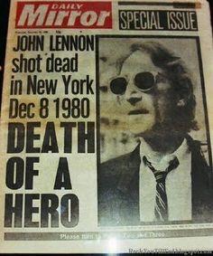 Daily Mirror anunciando a morte de John Lennon em 1980