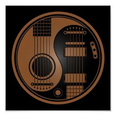 Brown and Black Acoustic Electric Guitars Yin Yang Acoustic Guitar Tattoo, Guitar Tattoo Design, Music Tattoo Designs, Music Tattoos, Body Art Tattoos, Tatoos, Music Tattoo Sleeves, Rock Tattoo, Faith Tattoos