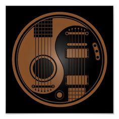 Brown and Black Acoustic Electric Guitars Yin Yang