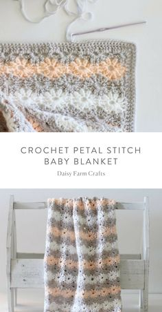 Free Pattern – Crochet Petal Stitch Baby Blanket We are want to say thanks if .Thanks for this post.Free Pattern – Crochet Petal Stitch Baby Blanket We are want to say thanks if you like to share this post to another peopl# baby Plaid Au Crochet, Bag Crochet, Crochet Daisy, Manta Crochet, Crochet Crafts, Crochet Hooks, Free Crochet, Crotchet, Crochet Geek