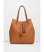 MANGO - Tassel shopper bag - Size:One size - Color:Medium Brown Branded Handbags Online, Branded Bags, Online Bags, Shopper Bag, Tote Bag, Range Bag, Fashion Boutique, Bucket Bag, Fall Outfits
