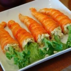 Awesome chicken salad  pastries that look like carrots