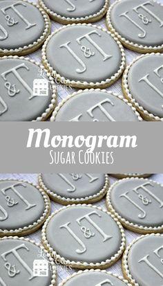 Elegant Monogram Decorated Sugar Cookies - 1 Dozen #affiliate