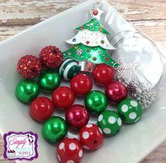 Christmas Tree Pendant Chunky Bead Kit Bling Bubblegum Beads make it yourself