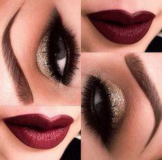 beautiful winter makeup  Nice Combination of Marron & Gold