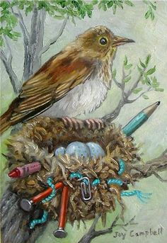Bird nest eggs cute ACEO print from original oil by Joy Campbell