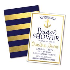 Nautical Bridal Shower Invitation with Navy & Gold Stripes and Gold Anchor by Invites2Adore