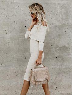 Off-the-shoulder Slim Fit Midi Dress
