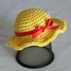A simple sun hat for dolls; how cute can you get? It's easy to make, works up in a jiffy, and is sure to make a little girl in your life very happy. Pair it with the Doll Blouse and Jumper for a perfe
