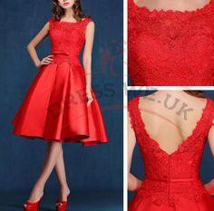 Unique Delicate Prom Dresses,Short Prom Dresses,Straps Prom Dresses,A-Line Lace Red Prom Dresses,Knee-Length Prom Dresses,Backless Prom Dresses