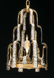 SILVERED AND GILT METAL CHANDELIER  FRENCH, CIRCA 1935
