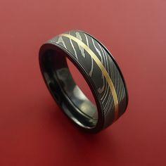 Black Zirconium and Damascus Steel Band 14K Yellow Gold Center Custom – Stonebrook Jewelry