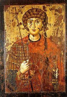 Святой Георгий. Вторая половина XI века   Великомученик Георгий. Икона 2-й пол. XI в. Успенский собор Московского Кремля