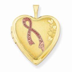 Gold Enameled Pink Ribbon Awareness Heart Locket