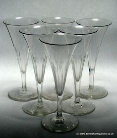 SOLD - EIGHT Georgian Regency Champagne Flute Glasses c1830