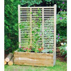 Bac rectangulaire avec treillis pour des plantes grimpantes, plusieures tailles disponibles. Vérifiez sur Jardin-Deco.com