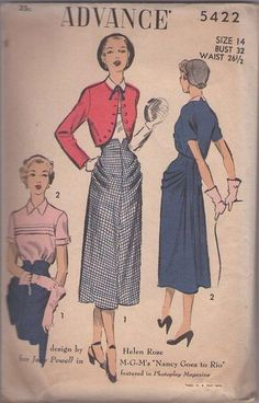 MOMSPatterns Vintage Sewing Patterns - Advance 5422 Vintage 50's Sewing Pattern DRAMATIC New Look Horizontal Pin Tucks Blouse, Shaped Bolero Jacket, HIP RUCHES High Waisted Evening Party Skirt COLLECTOR'S Designer Helen Rose for Jane Powell Size 14