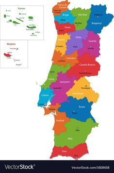 Colorful Portugal map with regions and main cities , Hotel Portugal, Portugal Vacation, South Africa Map, Asia Map, Fatima Portugal, Nevada Map, Netherlands Map, Oregon Map, Ireland Map
