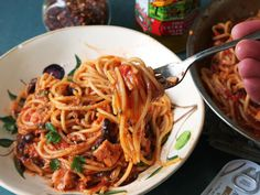 Spaghetti Puttanesca (Spaghetti With Capers, Olives, and Anchovies)
