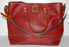 Dooney & Bourke Toledo Red Pebble Leather Chelsea Shopper Tote Shoulder Bag #DooneyBourke #TotesShoppers