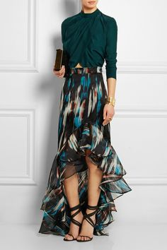Matthew Williamson | Ruffled printed silk-organza maxi skirt | NET-A-PORTER.COM from NET-A-PORTER. Saved to Clothing