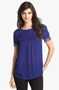 Ella Moss Embellished Lace Trim Top available at #Nordstrom