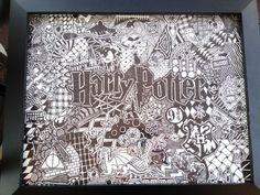 """Harry Potter zen doodle"" by Craftster member patty_o_furniture Welcome To Hogwarts, Harry Potter Drawings, Doodle Art Journals, Harry Potter Love, Zen Doodle, Tattoos, Mischief Managed, Zentangles, Furniture"