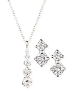 Jones New York Silver-Tone Crystal Drop Necklace and Earring Set