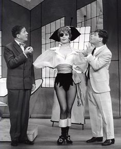 """Robert Morse and Rudy Vallee in """"How to Succeed in Business Without Really Trying""""."""