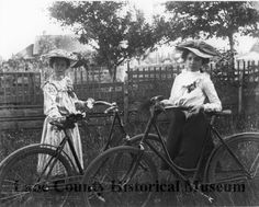 Undated photograph of two young girls with bicycles. (Lane County Historical Museum)