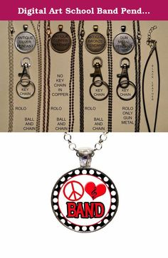 Digital Art School Band Pendant Necklace Or Keychain. With this listing you will receive a glass dome pendant and necklace with lobster clasp in organza bag shipped via U.S. mail with tracking number. Package is ready for gift giving. Matching key chains are also available with this design. For key chain choice select your pendant choice and then under necklace options you will select key chain. Four Pendant Choices Available: ANTIQUE SILVER ANTIQUE COPPER ANTIQUE BRONZE GUN METAL Six...