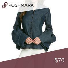 Blouse Denim queen sleeve blouse tov Tops Blouses