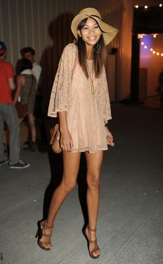 Chanel Iman from Coachella Fashion: The Best Celebrity Looks Ever  The supermodel looked gorgeous in a dusty pink Topshop dress at Coachella 2011. She completed her monochromatic look with a straw hat and sky-high sandals.
