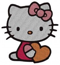 Heart Kitty Embroidery Design brother machine embroidery cards