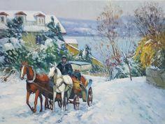 ARICAM - YAĞLIBOYA TABLO-İSTANBUL Watercolor Horse, Watercolor Pencils, Magic Forest, Turkish Art, Winter Scenes, Vintage Art, Landscape Paintings, Istanbul, Cool Art