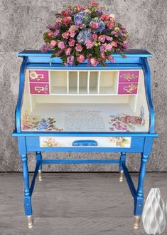 Rub On Transfers, Floral Artwork, Hand Painted Furniture, Secretary, Repurposed, Stain Wood, The Incredibles, Desk, Peony