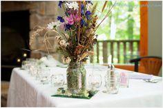 Wild flowers in a mason jar. Tennessee Smokies, East Tennessee, Chapel Wedding, Wedding Venues, Gatlinburg Weddings, Wedding Centerpieces, Wild Flowers, Mason Jars, Reception