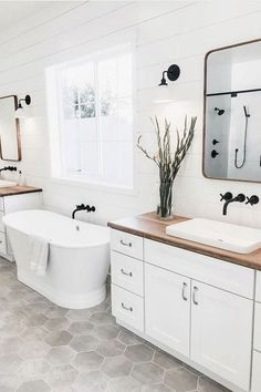 What's your favorite detail in this bathroom design? We can't decide between the Shaker White double vanities, the butcher block counter tops, the grey hexagon floor tile, or the shiplap wall 😍 Too many great features to choose from! Bathroom Renos, Bathroom Flooring, Small Bathroom, Modern Bathroom, Master Bathrooms, Grey Floor Tiles Bathroom, Shiplap In Bathroom, The Block Bathroom, Hampton Style Bathrooms