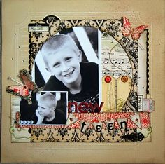 .Christmas or halloween again.  Several patterned papers and I love pic w/ paper in circle