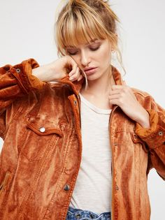 Velvet Trucker Jacket | Classic cool trucker style jacket featuring a luxe velvet design for a modern, femme update. * Four pocket details * Zip and snap button front * Lined