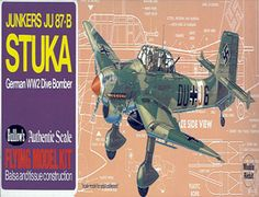 """The Guillows 1/32 Ju-87 Stuka is a balsa wood aircraft model kit from the range manufactured by Guillow.  The Stuka was specifically designed for a vertical bomb run, or as popularly known as """"dive-bombing"""". The 87-B model was the most widely used of the Stuka's and first saw service during the 1939 Polish Campaign. In May 1940, it successfully lead the German invasion of France and the Low Countries."""