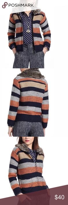 """Anthropologie Sparrow striped sweater w/ fur Sparrow striped sweater with faux fur collar. Size medium.  🚫MEASUREMENTS LAYING FLAT:   Armpit to armpit: 18"""" Waist: 16"""" Length from shoulder to bottom: 20"""" Sleeve:  17""""                                                      050817 Anthropologie Sweaters Cardigans"""