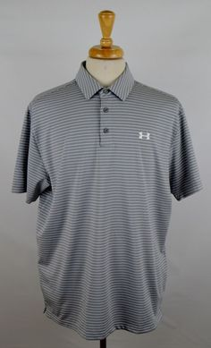 Under Armour Loose Heat Gear Men's Sz X-Large Gray White Striped Golf Polo Shirt #UnderArmour #PoloRugby