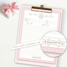 PRINCESS CROWN SHOWER Gift Record Gift List Invitation Baby