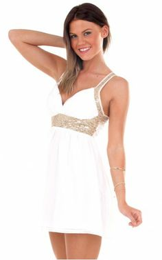 White & Gold Sequin Strap Dress #holiday #partydress #sequined #nye #nyedress